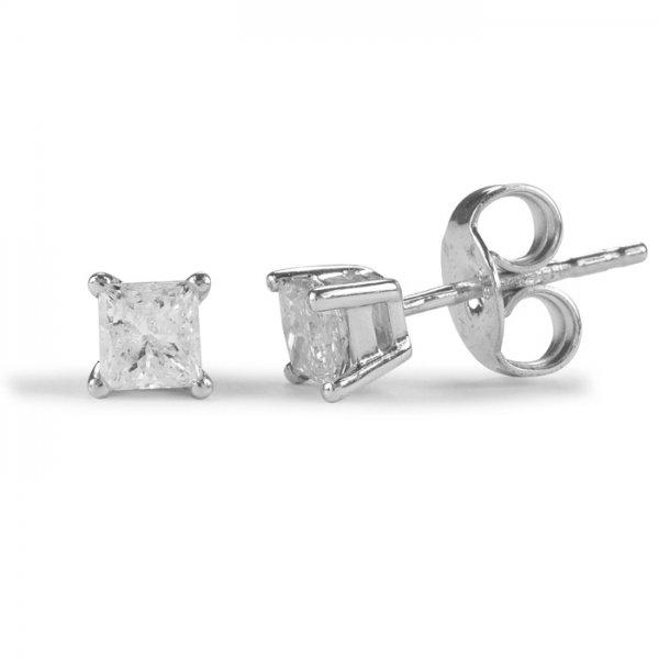 9ct White Gold 0.25ct Princess Cut Diamond Stud Earrings