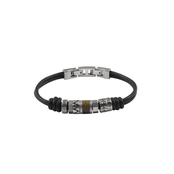 fossil casual collection mens black leather bracelet