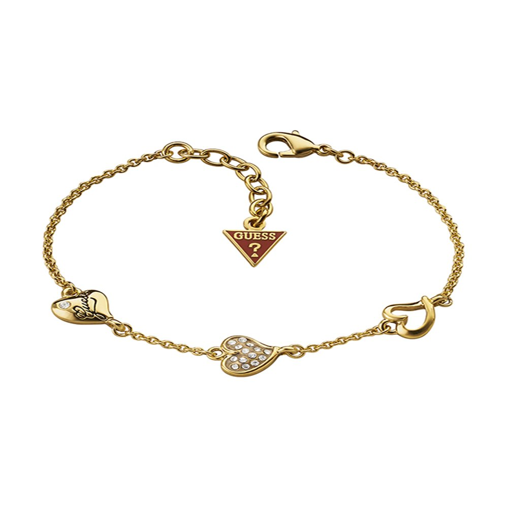 Guess Triple Heart Station Gold Tone Bracelet