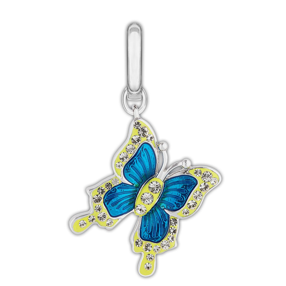 swarovski blue and yellow butterfly charm burns